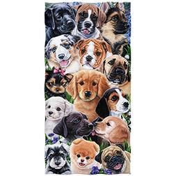 Puppy Collage Cotton Beach Towel by Jenny Newland