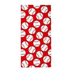CafePress Red Baseball Pattern Beach Towel
