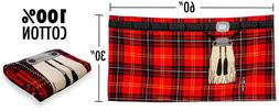 Instakilt Red Tartan Plaid Beach Kilt Towel Insta Kilt New w