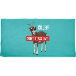 Relax I've Goat Got This All Over Beach Towel