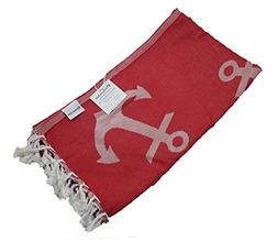 InfuseZen Reversible Anchor Print Turkish Towel, Extra Large