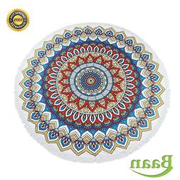 Round Beach Blanket By Baan |Extra Large Mandala Circle Towe
