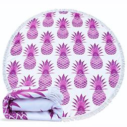 Large Round Beach Towel,AMESSE Pineapple Microfiber Thick Be
