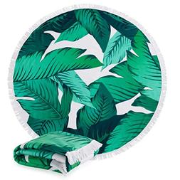 """Great Bay Home Round Beach Towel with Palm Trees. 60"""" Round."""
