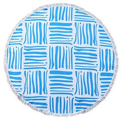 ShengChun Round Beach Towel Cotton Microfiber Blend Extra La