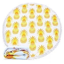 EUTERPE Large Round Beach Towel Pineapple Pattern Smooth Fee