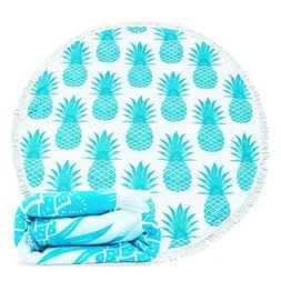 Epy Huts Large Round Beach Towel Pineapple Pattern Smooth Fe