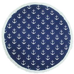 Leana Collection Round 'Roundie' Beach Towel Thick Terry wit