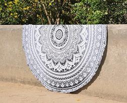 Raajsee Round Beach Throw Tapestry hippie black white/ Boho
