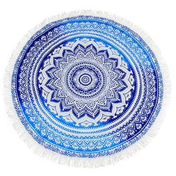 KING DO WAY Round Indian Mandala Beach Towel Soft Breathable