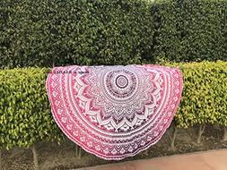 Raajsee Round Beach Throw Pink Tapestry hippie / Boho Mandal