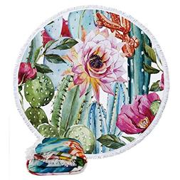 Round Roundie Beach Towels Flower Cactus Beach Blankets Over