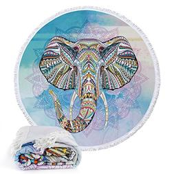 Round Roundie Elephant Style Indian Mandala Beach Towels Boh