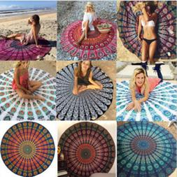 Round Tapestry Beach Towel Yoga Mat Indian Mandala Throw Tab