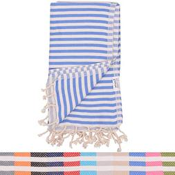 Royal Blue Striped Turkish Towel - Naturally Dyed 100% Cotto