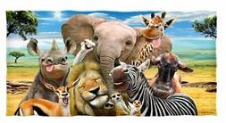 Dawhud Direct Safari Animals Selfie Cotton Beach Towel