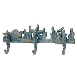 Stonebriar Cast Iron Seahorse Decorative Wall Hook Row, Uniq