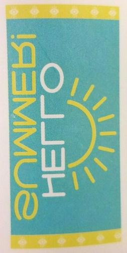 "Sea Green & Yellow Beach Towel ""HELLO SUMMER!"" - 28 x 58 inc"