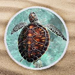 ARIGHTEX Sea Turtle Beach Towel Turquoise Round Tablecloth T