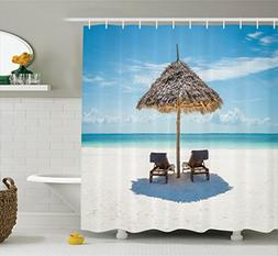 Ambesonne Seaside Shower Curtain, Wooden Sun Loungers Facing