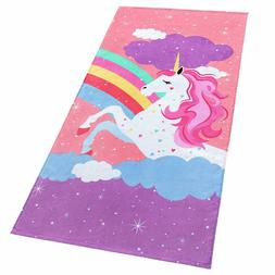 Softerry Rainbow Unicorn Velour Beach Towel for Kids 28in x