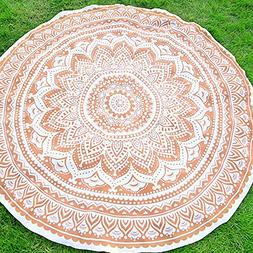 YJ-Bear Solid Color Round Indian Mandala Boho Beach Towel Th