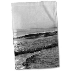 3dRose Stamp City - Beach - Black and White Photograph of a