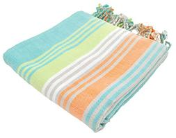 InfuseZen Striped Colorful Turkish Towels in Orange, Purple,