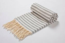 Striped Premium Beach Towel Silver,100% Cotton Turkish Bath