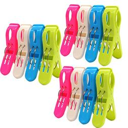Dreecy Set of 12 Sturdy Beach Towel Clips for Pool Chairs or