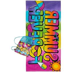 3C4G Summer Forever Towel and Sling Bag Set , Rainbow