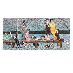 "Edward Gorey Summer Pier Print Beach Towel - 30"" x 60"""