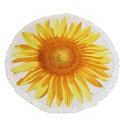 Outdoor Sunflower Beach Blanket, Beach Towel, Tapetry, Round