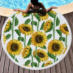 Sunflower Floral Round Beach Towel Summer Picnic Yoga Mat Sw
