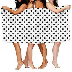 Fulover Swim Towels Beach Blanket Polka Dot Black And White