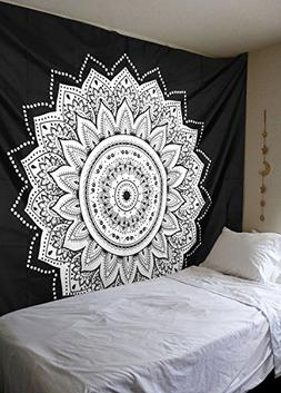 SENGE Tapestry Wall Hanging Tapestries Black and White Manda