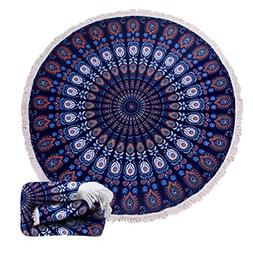 Thick Round Beach Towel Blanket – Peacock Large Big Microf