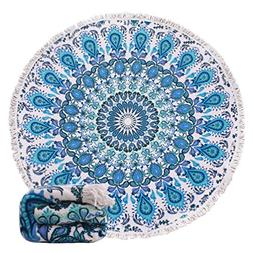 Genovega (23 Options Thick Round Beach Towel Blanket - Blue