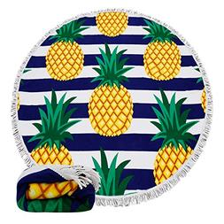Genovega Thick Round Beach Towel Blanket - Hawaii Hawaiian T