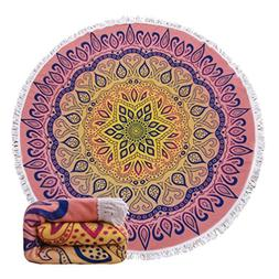 Genovega 23 Options Thick Round Beach Towel Blanket - Purple