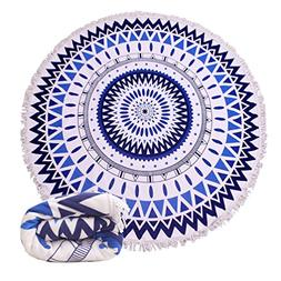 Genovega 23 Options Thick Round Beach Towel Blanket - Blue B