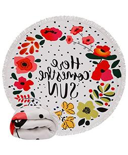 Genovega  Thick Round Beach Towel Blanket - Funny Floral Mic