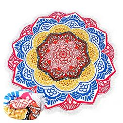 BAZABA Thick Round Beach Towel Soft Water Absorbent Mandala