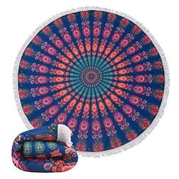 Thick Terry Round Beach Towel Blanket With Fringe Indian Ma
