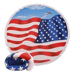 Genovega  Thick Round Beach Towel Blanket – USA Flag Large