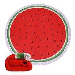 Genovega (23 Options Thick Round Beach Towel Blanket - Red W