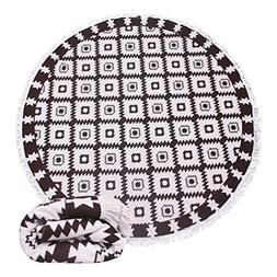 Thick Terry Round Circle Beach Towel Blanket Reserved Black