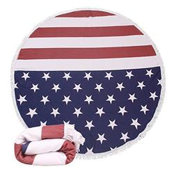 Thick Terry Round Circular Beach Towel Blanket With Fringe