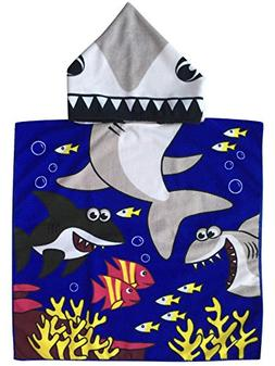 Tiger Shark Child Hooded Poncho Towel with Navy Color Printi
