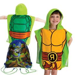 TMNT Ninja Turtles Raphael Kids Hooded Pool Beach Towel 100%